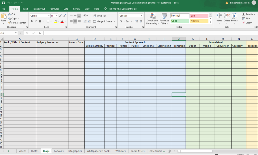 Content planner and matrix example