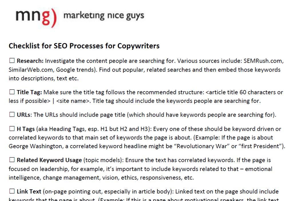 SEO Checklist for copywriters