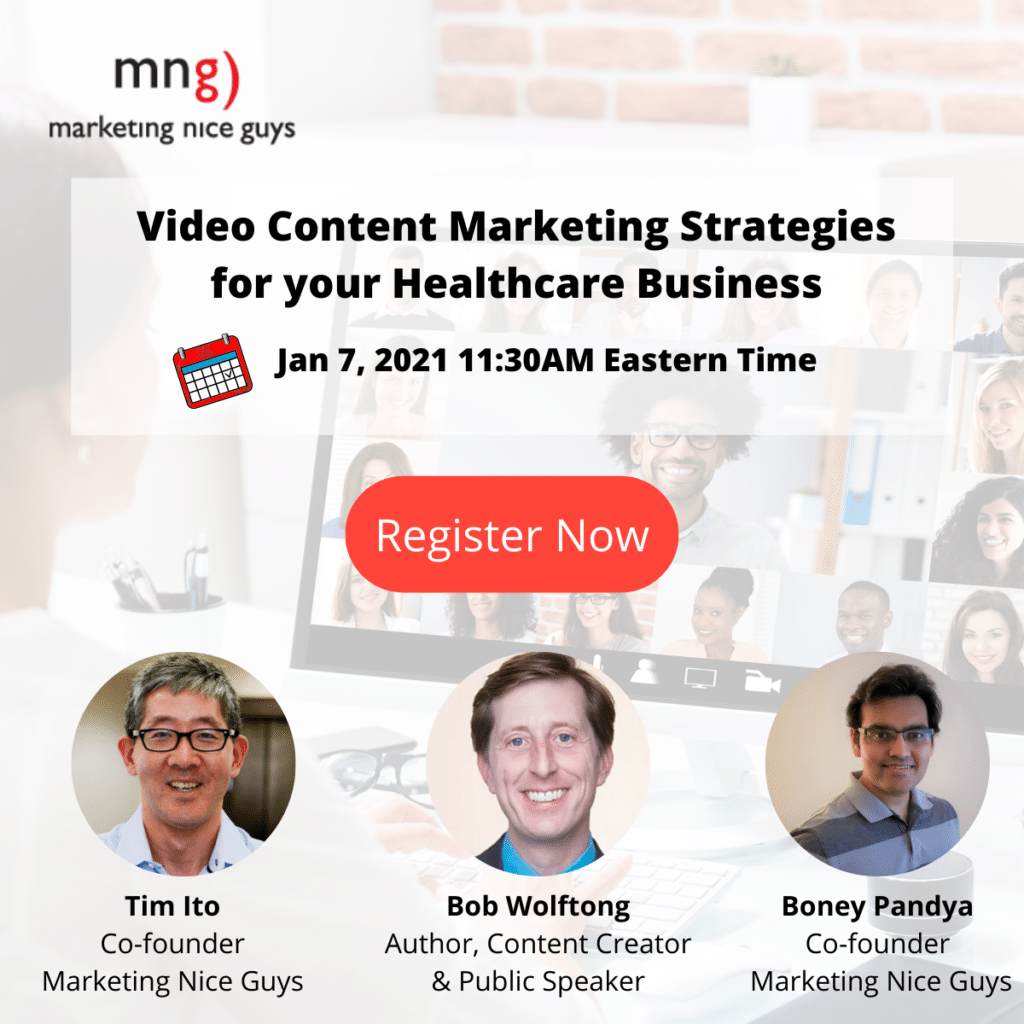 Video content strategies for your healthcare business webinar promo visual.