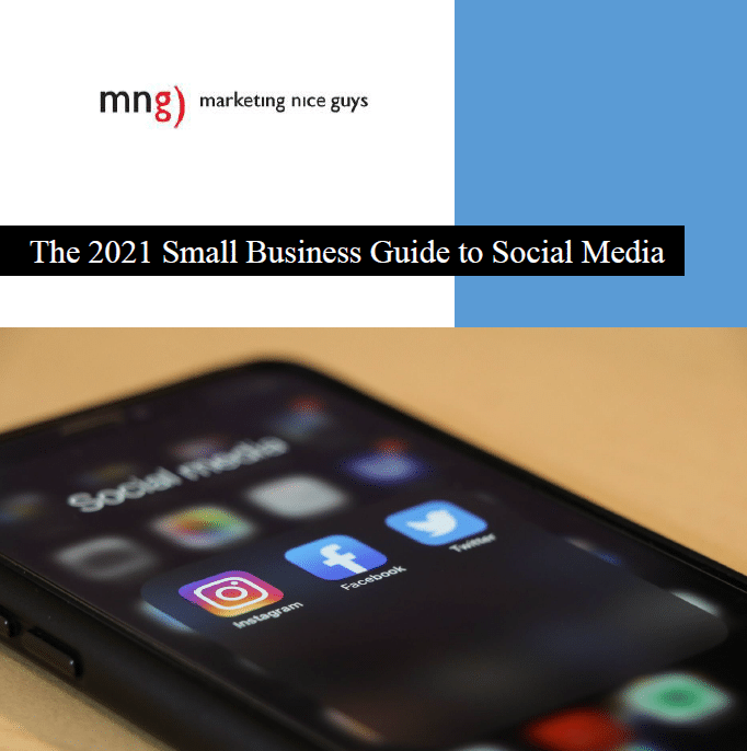 This image shows a shot of our cover of the 2021 Small Business Guide to Social Media, which was produced in February. It's a guide that helps small businesses with strategies and tactics for various social media platforms, including Facebook, Twitter, Instagram, LinkedIn, Pinterest, TikTok, and more.