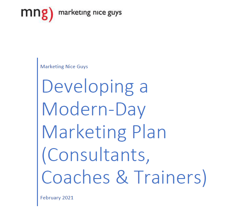 Cover image of our free download template for developing a modern-day marketing plan (consultants, coaches, and trainers)