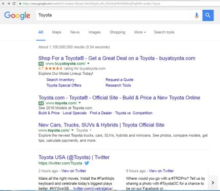 A New York Toyota dealer's paid search ad in Google.