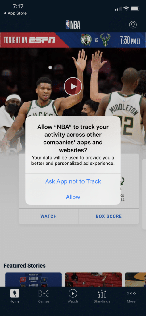 This is a screenshoot of the NBA app in iOS 14, Apple's update to its operating system. The image shows an opt-in message for tracking behavior.