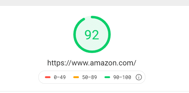 An example of how to look at a site's page speed using Amazon.com