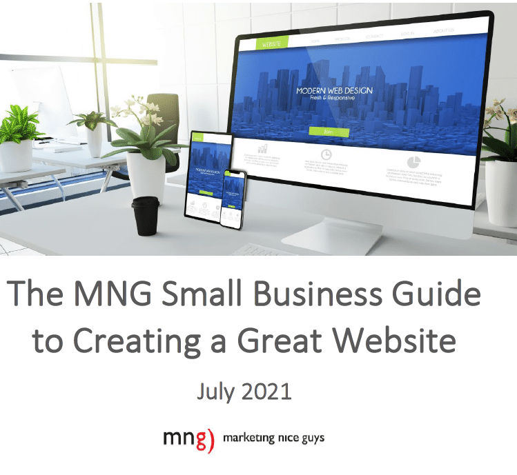 A shot of the cover image of The MNG Small Business Guide to Creating a Great Website.
