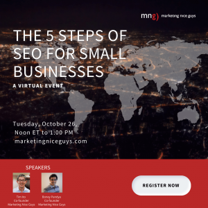 A graphic that shows MNG's Virtual event called the 5 Steps of SEO for Small Businesses